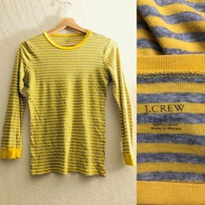 J. Crew fitted tee longsleeved striped yellow gray